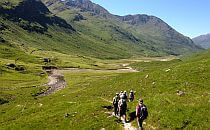 People walking on a trail in a valley