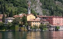 Colourful town on the shore of Lake Como in Italy.
