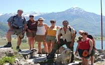 Group of walkers with a guide at Laka Como in Italy.