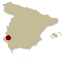 Map of Spain showing the location of the Walking in the Sierra de Aracena Self-guided walking holiday