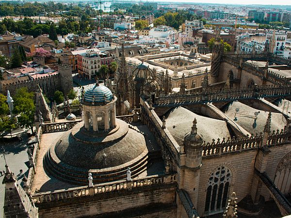 Wide view onto the inner city of Seville in Spain