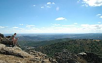 Wide view from a hilltop across the Sierra Aracena in Southern Spain