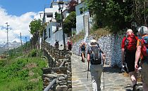 walking holiday group exploring a small village in the Alpujarras