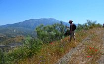 Walking over a path on a mountain with a gentle slope in Andalucia, Spain