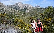 Three people on a self-guided walking holiday walking a mountain path in Andalucia