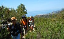 Group with guide walking in Andalucia on a walking-path overlooking the Mediterranean