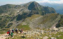 Group og people walking in Rila mountain