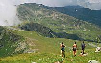 Hikers walking in Rila mountain