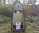 A pop up toilet with tent in the wild forest