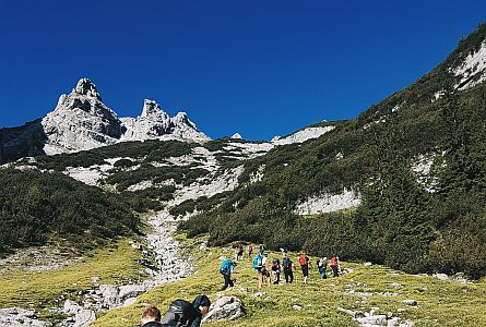 group of walkers in the mountains during a guided walking holiday