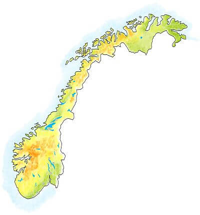 handdrawn map of Norway