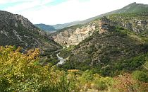 A river gorge with colorful rocks, green trees on the front