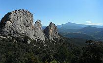 Huge rock formations sticking high up