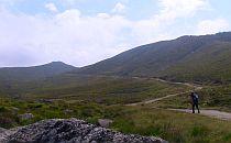 Hiker walking on a long twisting trail