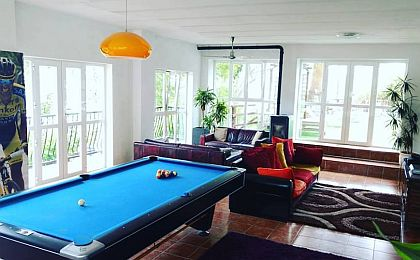 Pool room with cozy coaches