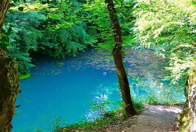 Walking path along a beautiful colored river