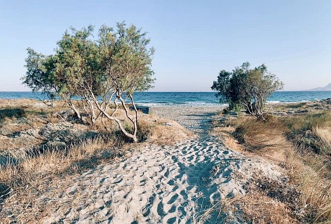 Sandy path to a beach, meny steps in the sand